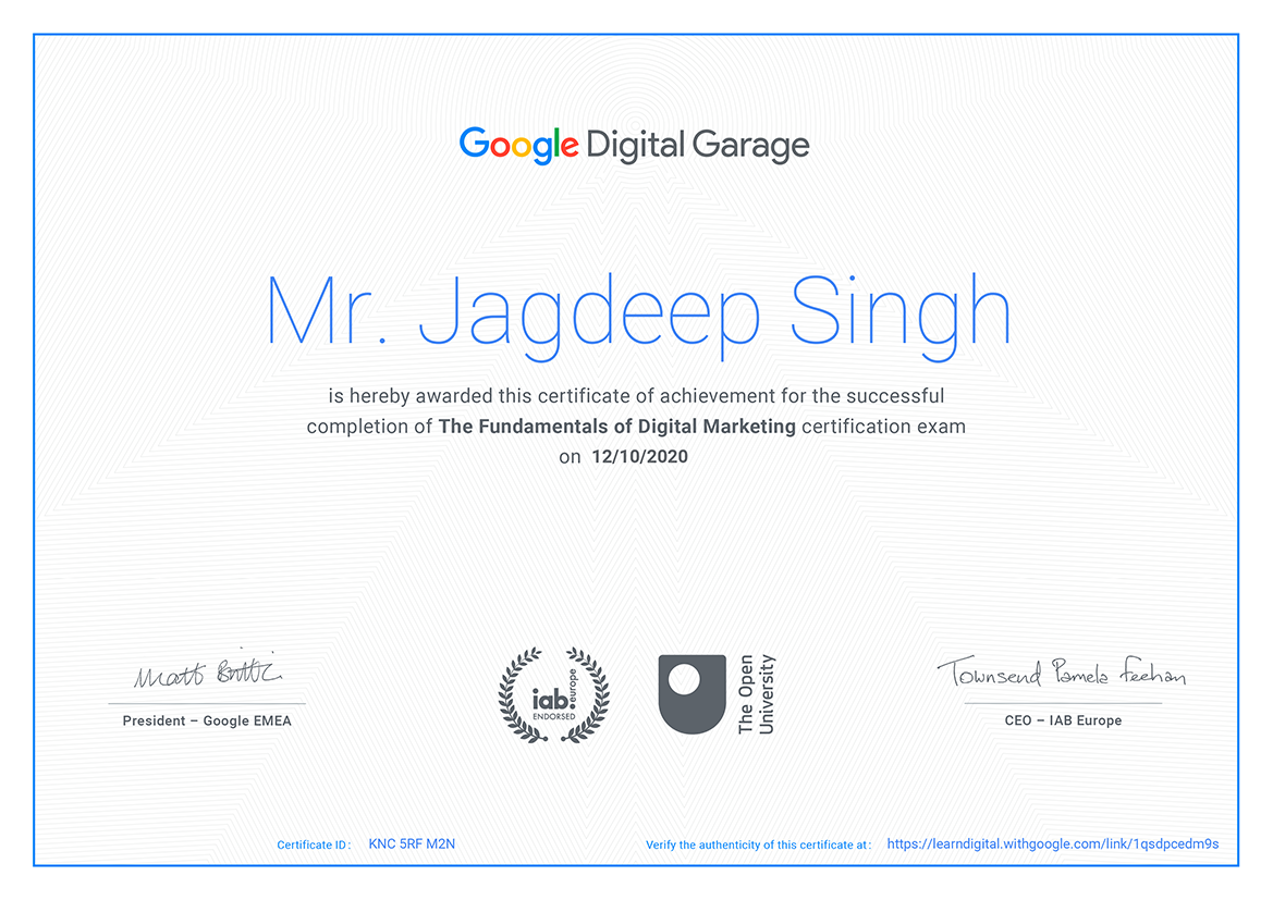 certificate jagdeep